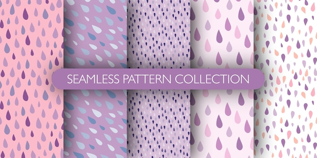 Set of raindrops doodle seamless pattern. blue and purple drops.