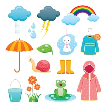 Set of rainy season objects