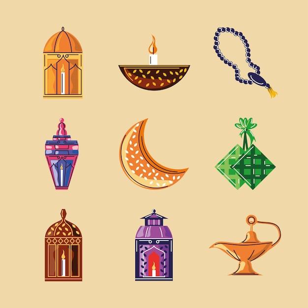 라마단 아랍어 이슬람 축하 요소 설정