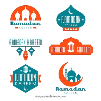 Set of ramadan badges in flat style