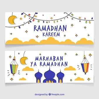 Set of ramadan banners in hand drawn style