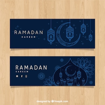 Set of ramadan banners with lamps in monolines