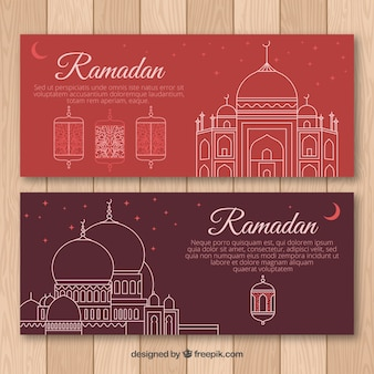 Set of ramadan banners with mosques in monolines