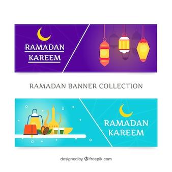 Set di banner in ramadan con ornamenti