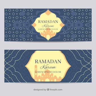 Set of ramadan banners with ornamentos