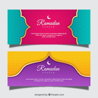 Set of ramadan banners with ornaments