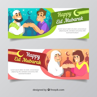 Set of ramadan banners with people praying