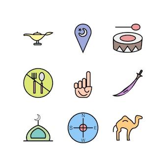 Set of ramadan icons isolated on white