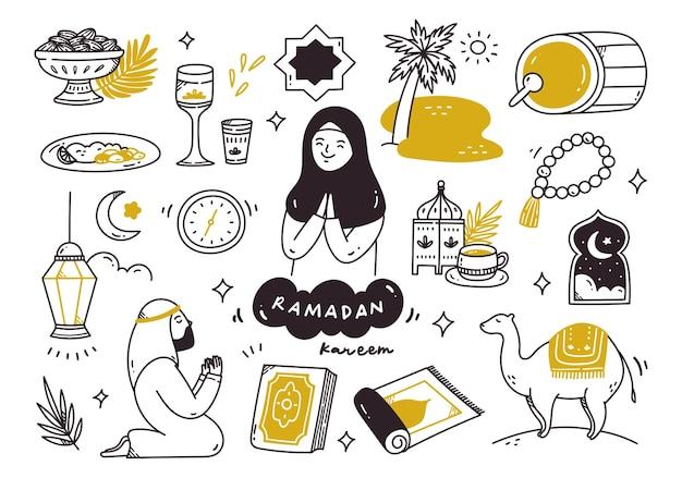Set of ramadan kareem doodles