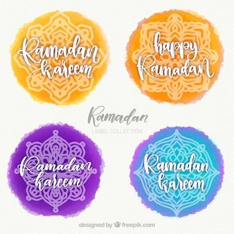 Set di etichette di ramadan con mandala in stile acquerello