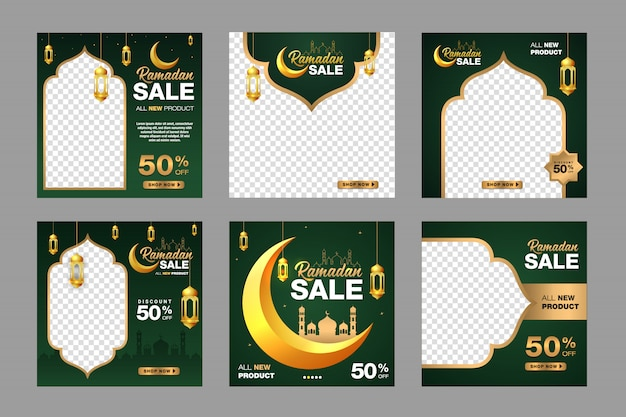 Set of ramadan sale banner template. with ornament moon, mosque, and lantern background. suitable for social media post, instagram and web internet ads.   illustration with photo college