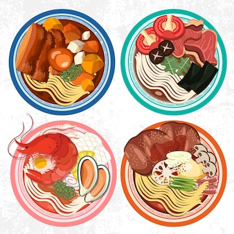 Set of ramen bowls