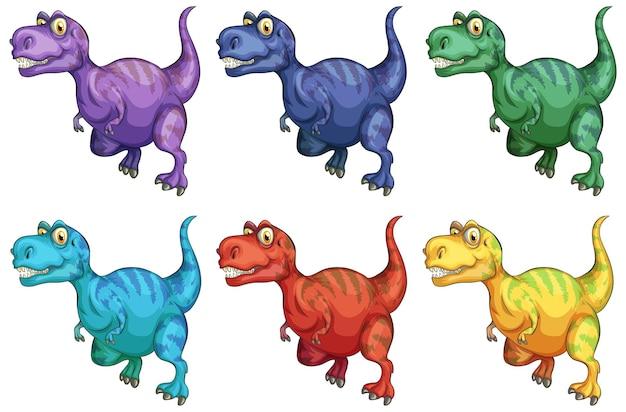 Set of raptorex dinosaur cartoon character