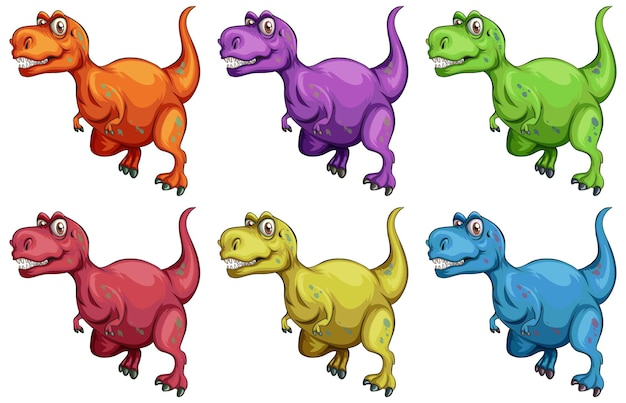 Set of raptorex dinosaur cartoon character