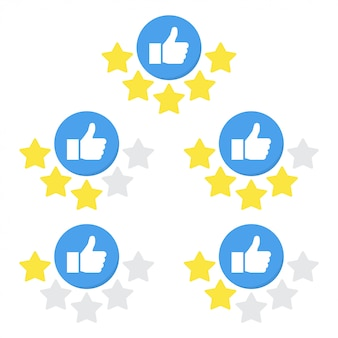 Set of rating icon with hand and star