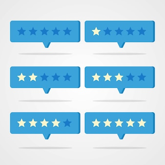 Set of rating stars with speech bubble