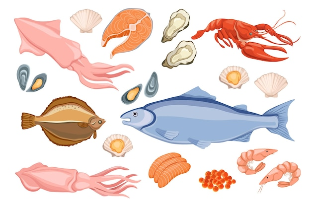 Set of raw seafood flounder, mackerel fish, squid and lobster with oysters, scallop, shrimps and red caviar, salmon