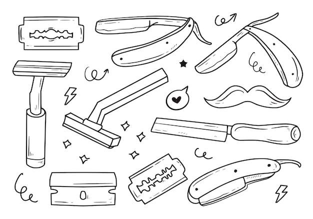 Set of razor blade for shaving mustaches collection item set
