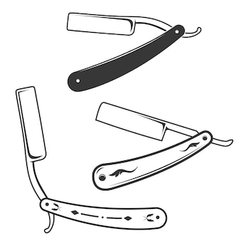 Set of the razors illustration  on white background.  elements for barber shop label, emblem, sign, brand mark, poster.
