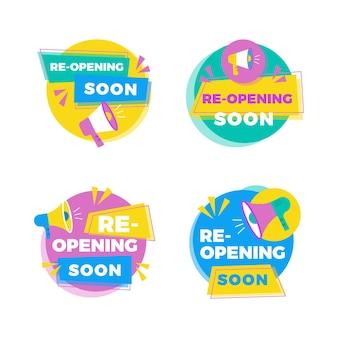 Serie di badge di riapertura presto