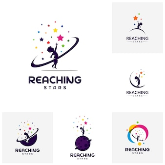 Set of reaching stars logo design template. dream star logo.