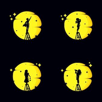 Set of reaching stars logo design
