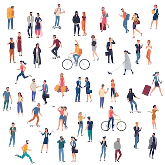 Set of ready to animation people characters performing various activities. group of men and women flat design style cartoon characters isolated on white background.