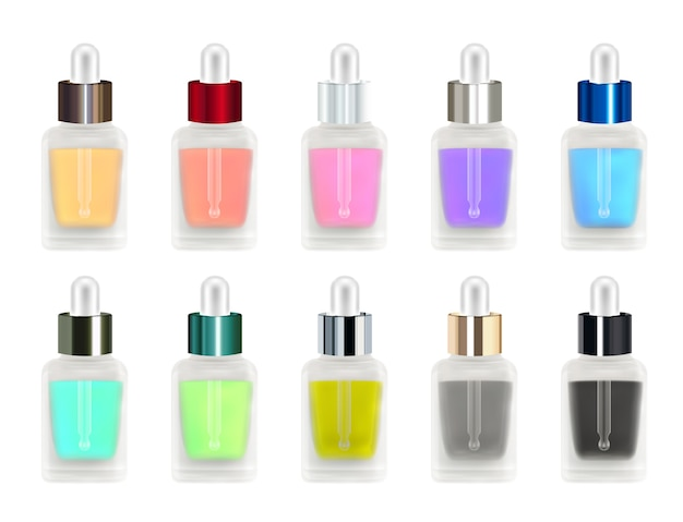 Set of a real 3d colorful glass bottle with eye dropper