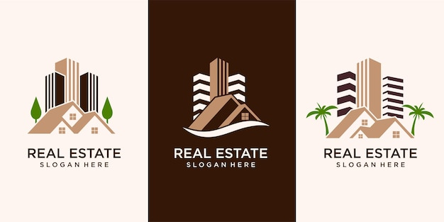 Set of, real estate, building and construction logo vector design