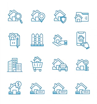 Set of real estate icons with outline style.