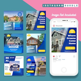 Set of real estate instagram post banners