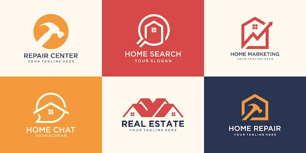 Set of real estate logo, creative house logo collection combined hammer element. Premium Vector