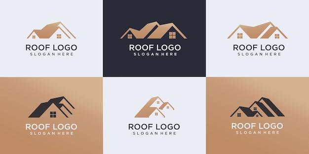 Set of real estate logo, roof construction logo, builder logo design template vector illustration