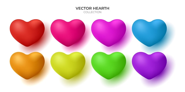 Set of realistic 3d hearts isolated on white background.