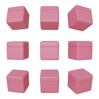リアルな3dピンクボックスを設定します。