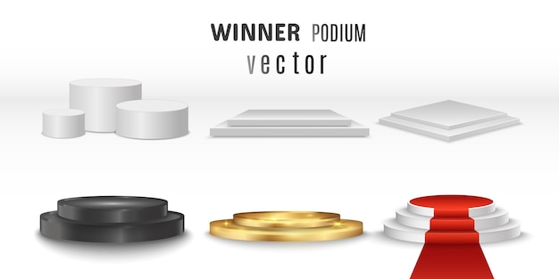 Set of realistic 3d podiums or platforms.