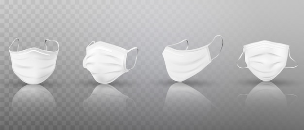 Set of realistic 3d white medical masks.