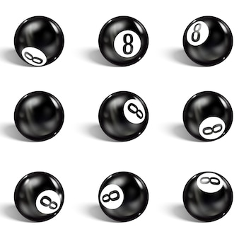Set of realistic 8 ball. isolated on a white
