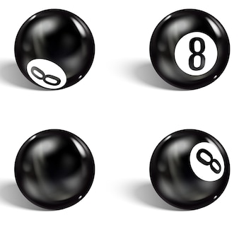 Set of realistic 8 ball. isolated on white