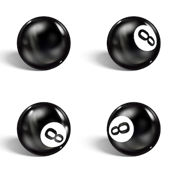 Set of realistic 8 ball. isolated