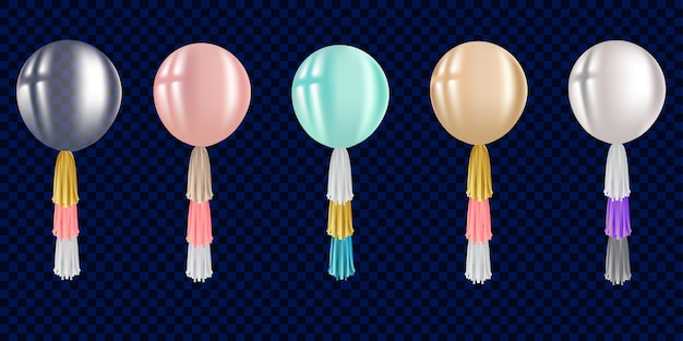 Set of realistic air balloon with tassel