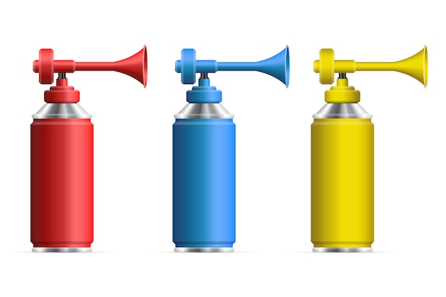 Set of realistic air horn  illustration