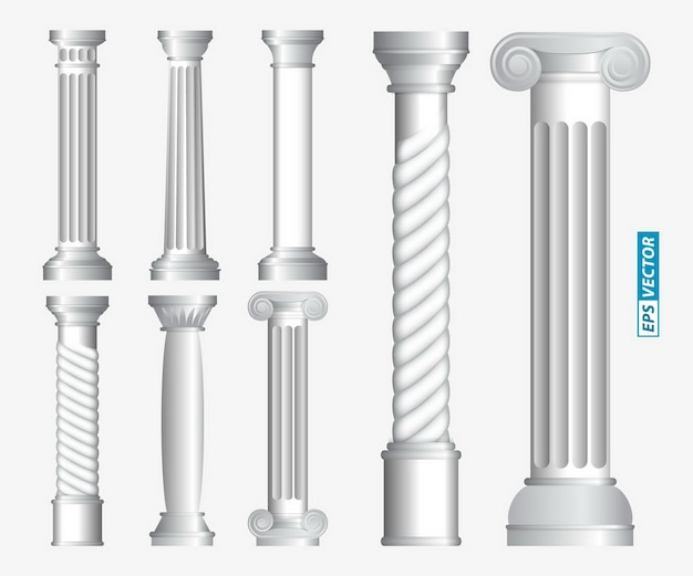 Set of realistic antique columns or realistic antique temple or white antique column with ribbing