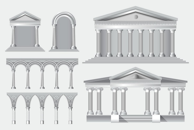 Set of realistic antique columns or realistic antique temples and white antique columns with ribbing