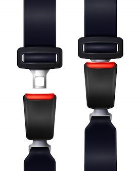 Set of realistic automobile seat belts in fixed and unblocked view isolated illustration