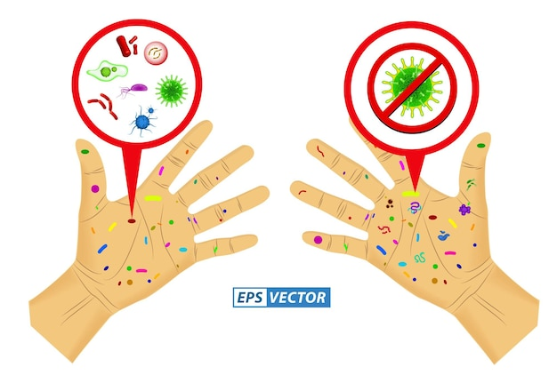 Set of realistic bacteria or various microscopic virus and germs or realistic micro organism