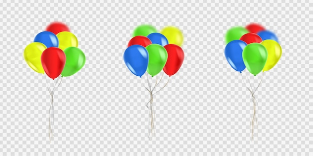 Set of realistic  balloons for celebration and decoration on the transparent background. concept of happy birthday, anniversary and wedding.