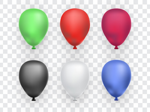 Set of realistic balloons isolated on transparent background