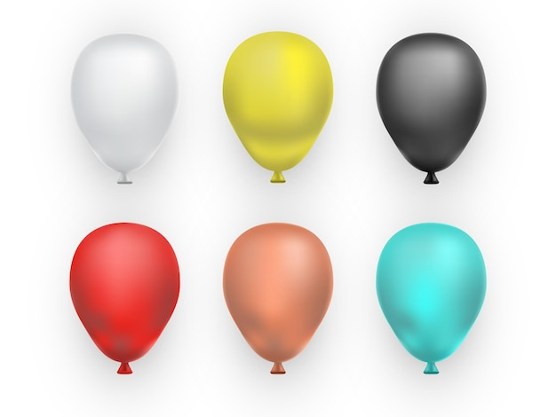 Set of realistic balloons isolated on white background