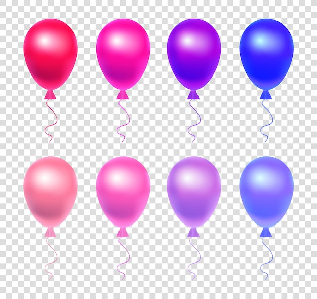 Set of realistic balloons. vibrant balloons on a transparent background.